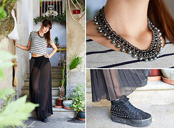Debora H - Obey Plissee Maxi Skirt, Glamorou T Shirt, Pieces Nacklace, Jc Play Plateau Sneaker - Transparent