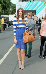 Alix M - Bayswaterish, H&M Stripes, Blue Lace Pencil, Bling Bling Necklace - Fashionweek Berlin day 1: Marine