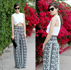 Adriana Gastélum - Oasap Sunnies, Zara Cropped Studio Top, Windsor Ethnic Print Wide Trousers, 3.1 Phillip Lim Neoprene Clutch - Bugambilias