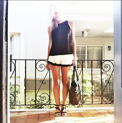 Amanda Del Duca - Ego Soleil Open Back Top, Kenneth Cole Stitch With Me Bag, Zara Contrasting Flat Sandals - Black. White. Blonde.