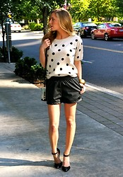 Sarah Helfgott - Impulse Sweater, Boohoo Leather Shorts, Asos Pumps - Dots and leather