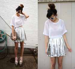 Alyssa Lau - Style Moca Jersey Top, 90's Lullaby Liquid Silver Skirt, Tarte Heart Shaped Sunglasses, Choies Silver Clutch - You're a ghost