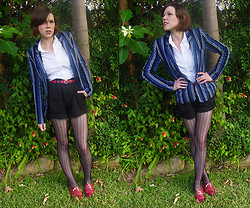 Jackie B - Ben Sherman Blue Striped Blazer, Supre White Blouse, High Waisted Shorts - Need to clear my mind now, It's been racin' since summertime
