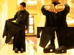 Ron Ramiro - Mogul Black Gown, The Red Pumps Distortion (Monster Shoes), Os Knuckle Ring - BOY in BLACK