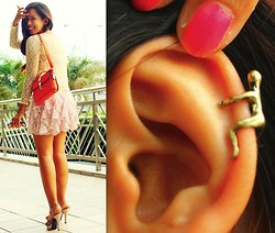 Angeline Rodriguez - Lace Coverup, Forever 21 Floral Skirt, Pink Fashion Orange Satchel Bag, Michael Antonio Beige Heels, Romwe Bronze Man Ear Cuff - Productively Stressed.
