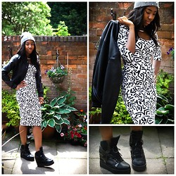 Bliss Monica - Primark Beanie, Asos Midi Dress, New Look Baseball Jacket, Jeffrey Campbell Wedge Trainers - Monographic
