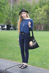 Audrey Riley - Etsy.Com Moon Necklace, H&M Blue Jumper, H&M Hat, Love Cosmic - Blue on Blue