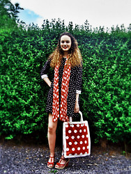 Camille W - Tk Maxx Scarf, Tk Maxx Polka Dot Bag, Marks And Spencers Polka Dot Wedges, Asos Polka Dot Dress - Going Dotty