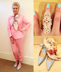 Amelia Tordoff - Zara Pink Suit, Zara Sky Blue Pointy Flats, Douuod Silk Scarf, River Island Statement Ring - Off to Paris today for work and pleasure :)