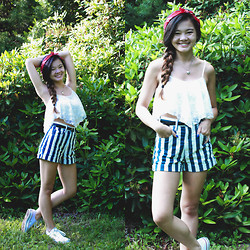 Zoe B. - Iwearsin Crop Top, Target Bandana, H&M Belt, American Apparel Shorts, Converse Sneakers - HAPPY FOURTH