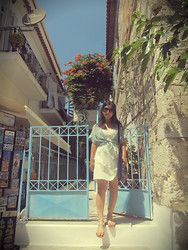 Nam Cheah - Lowrys Farm Green Polka Dot Chiffon Shirt, H&M White Dress, Forever 21 Sandals, Tribal Print Bag - Samos Greece