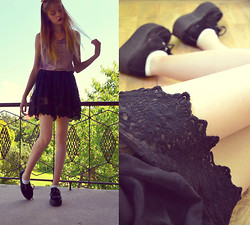 Zuzanna Antonina Ch - Stradivarius Lace Skirt, H&M Joy Division Top, Creepers - Atmosphere