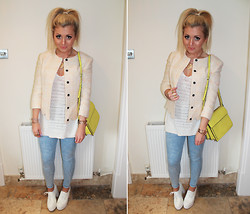 Lydia Jones - Topshop Jacket, Topshop Jeans, H&M Top, Asos Shoes, Zara Bag, Mango Necklace - Scalloped Jacket