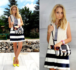 Violetta Privalova - Pull & Bear Dress, Asos Bag, Asos Heels, Asos Vest - Striped Mix