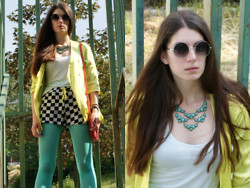 Lejla B - Giant Vintage Sunglasses, Cozbest Blazer, Mart Of China Necklace, Vj Style Shorts, Choies Tights - Summer rain
