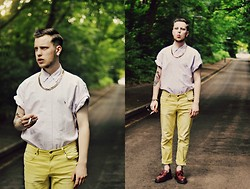 Joe Weightman - Ralph Lauren Lilac Shirt, Cheap Monday Lemon Jeans, Dr. Martens Loafers - Safe and Slick (like a raincoat dripping with perspiration)