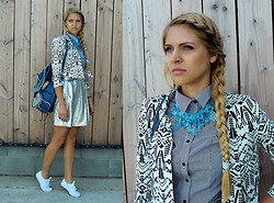 Nadja B - Monki Skirt, Asos Blazer, Claires Backpack, New Look Shirt, Six Necklace, Exani Sneakers - Rhombus stripes