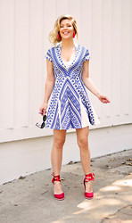 Maegan Tintari - Pencey Blue And White Geo Dress - Fly the Colors of the Day!