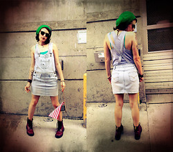 Britt B - Thrift Store Green Beanie, Urban Outfitters Grey Romper, Personal Identity Overall Skirt, Found On The Street American Flag, Dr. Martens Cherry Doc's - The American Dream is a Nightmare