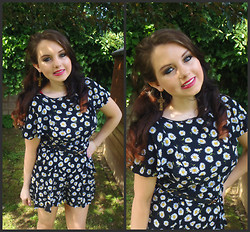 Aisling Cox - Primark Daisy Playsuit, Miss Selfridge Leopard Print Cross Earrings - Daisy daisy daisy