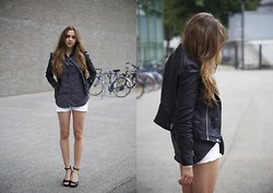 Jana Couture - H&M Wedges, Zara Leather Jacket, H&M White Shorts - Berlin Fashion Week