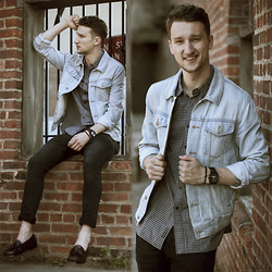 Marcel Floruss - Topman Denim Jacket, Grayers Gingham Shirt, H&M Jeans, Weejuns Loafers, Tko Watches Watch, Tevin Vincent Bracelet - Brick Wall