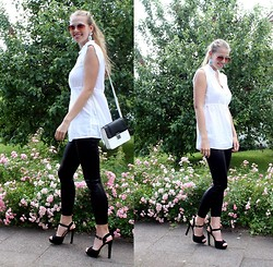 Elaine Storm - H&M Two Tone Bag, New Look Black Heels, C&A White Blouse, H&M Blue Earrings, No Name Aviator Sunlgasses - White n' Black
