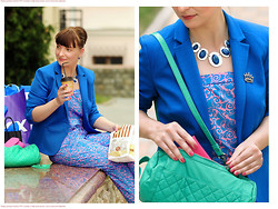 Tatiana Alexeeva - Mexx, Overall Oggi, Purse Mexx - Royal blue and turquoise