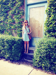 Jennifer P - Forever 21 Chambray Dress, Forever 21 Cat Eye Sunglasses, Pour La Victoire Low Heeled Sandals, H&M Leather Satchel - True Blue