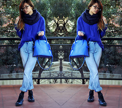 Vi W - Yesstyle Navy Circle Scarf, Chicabooti Blue Cable Knit, Aland Bag, Neuw Jeans, Converse Hi Tops - 50 Shades of Blue