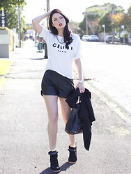 Kelly Nicole - Céline Celine Tee, Vanessa Bruno Tote, Isabel Marant Sneakers, Leatherette Shorts - Thank you Celine