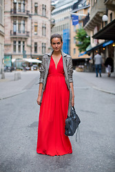 Isabelle Hawi - Caroline Blomst Leather Jacket, Vintage Dress, Balenciaga Bag - Red- Style with Isabelle