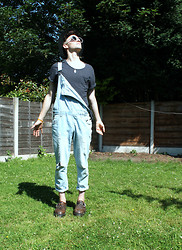 Richard M - American Apparel Tee, Primark Overalls, Topman Fedora, Dr. Martens Docs - Hello sunshine, come into my life.