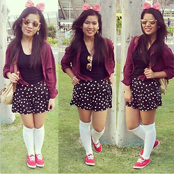 Anna Ordonez - Red Polka Dot Headband, Cotton On Maroon Blouse, Facorie Polkadot Skort, Cotton On Sunnies, Vans Red Kicks - You will NEVER be too old for Disney <3