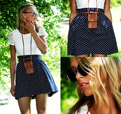 Petra Karlsson - Top (Jumpsuit), Åhlens Iphone Necklace, Hillevi Skirt, Glasses - Simple dots