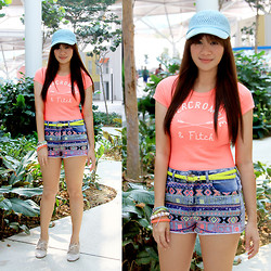 Jannelle O. - Abercrombie & Fitch Neon Coral Tee, Cole Vintage Neon Yellow Slim Belt, Topshop Aztec Stitched Denim Shorts, Topshop Neon Arm Candy - All About Neon