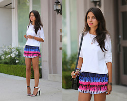 Annabelle Fleur - Lovers + Friends Shorts, Zaea Sweater, L.A.M.B. Heels - Slightly Sporty