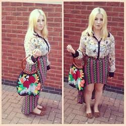 Leigh Freda - George, Asda Blouse, H&M Patterned Skirt, Oxfam Hand Made Beaded Bag, Primark Suede Moccasins - 70s chic