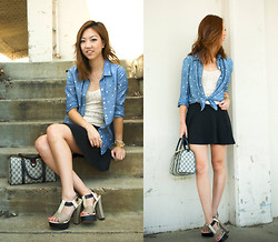 Christine Y - Gap Chambray Shirt, American Apparel Skirt, Report Heels, Gucci Handbag, Free People Camisole - Polka Dotted Tied
