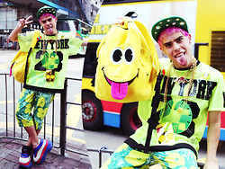 Nick Ottaviano - Dog Harajuku Shirt, B Be Bee Illuminati Hat, Paris' Kids Emoji Backpack, Uniqlo Andy Warhol Capris, Swear Platforms, B Be Bee Bart Necklace, Marina Fini Flavor Flav Clock - DONT WORRY, BE HAPPY