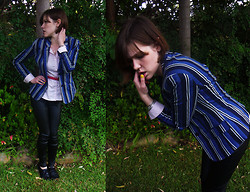 Jackie B - Ben Sherman Blue Striped Blazer, Subtitled Catwoman Pants, H&M Pale Pink Blouse - Let me see you, stripped down to the bone