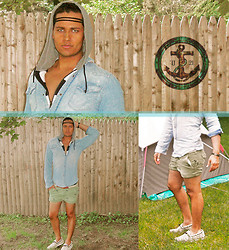 Robert Dmitri - David Bitton Striped Knit Hoodie, H&M Denim Shirt, Ralph Lauren Nautical Rope Belt, Abercrombie & Fitch Mint Green Shorts W/ Embroidered Moose, Prada Taupe Boating Shoes - Summer Love ⚓ ☼ ♒