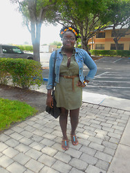 Nicky Jules - Diy Flower Crown, American Eagle Denim Jacket, Ross Green Dress, Forever 21 Black Bag, Target Sandal, Nordstrom Watch, Target Necklace - Mean Green ~ OOTD