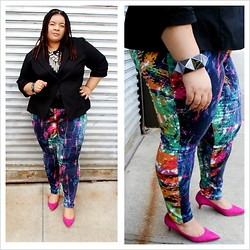 Jamila Pierre - Forever 21 Abstract Multi Colored Pants, Nine West Pink Suede Kitten Heels, Torrid Black Blazer, Forever 21 Southwest Black Tank Top - An Abstract Mind.