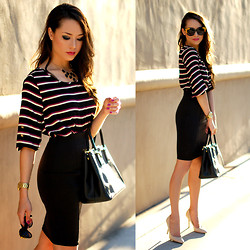 Jessica R. - Style In Kind Striped Top, Dailylook Black Bodycon Skirt, Prada Saffiano Lux Bag, Enzo Angiolini Nude Heels, Statement Baubles Black Necklace, Kristin Perry Rose Rimmed Sunnies - Work Style
