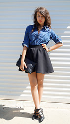 Marina Petrova - Gloria Vanderbilt Denim Shirt, Stradivarius Skirt, Diy Clutch, Gina Tricot Sandals - Denim and black