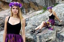 Nadja B - Handmade Dress, Jeffrey Campbell Sandals, Gina Tricot Necklace - Purple roses