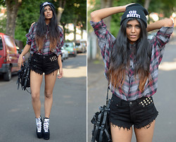 Kavita D - Unif Cut Out Check Shirt, Plndr Black Stud Cut Off Shorts, Alexander Wang Kirsten Tote, Ebay Oh Shit! Beanie, Unif Hellbounds - PLNDR.