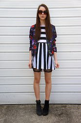Chelsea Jade - H&M Jacket, Motel Dress, Primark Shorts, Asos Shoes - Stripes & Floral
