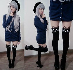 Narumi Kataiama - Cat Socks, Hells Shoes, Dark Blue Cardigan - Cat look :3